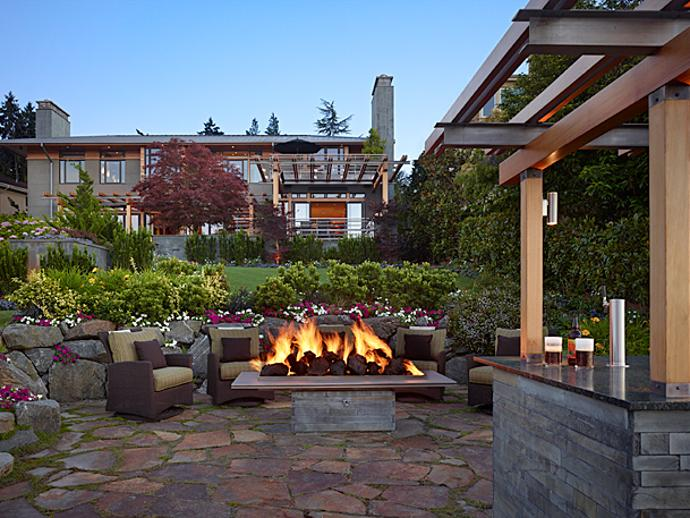 5 beautiful outdoor fire pits for your backyard porch advice for Lakefront landscaping photos