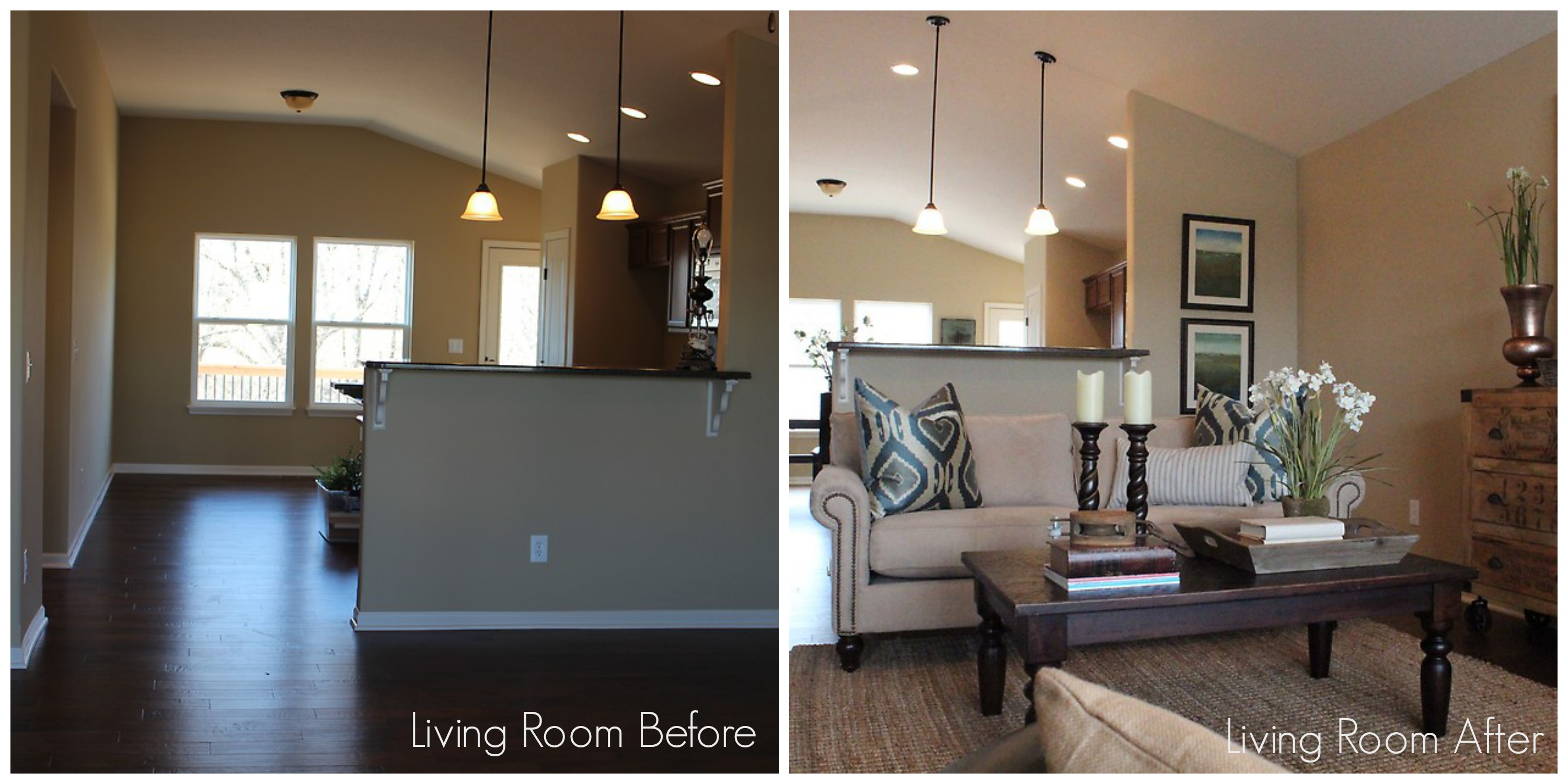 Interior design and home staging - Living Room3 Before After