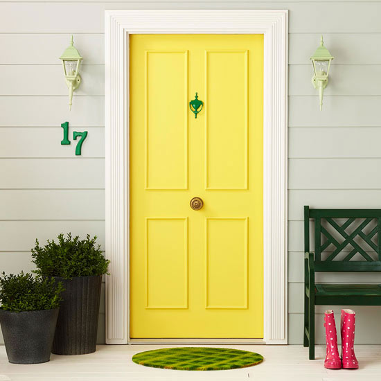 What does the color of your front door say about you for Front door yellow paint