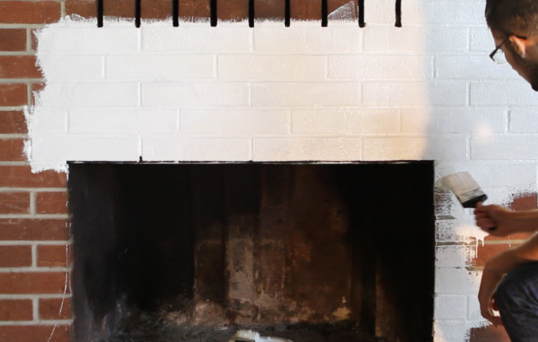 How To Paint a Brick Fireplace - Porch Advice