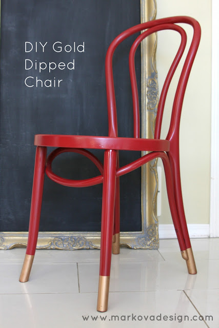 HODGE PODGE by markova designs - Gold Dipped Red Chair