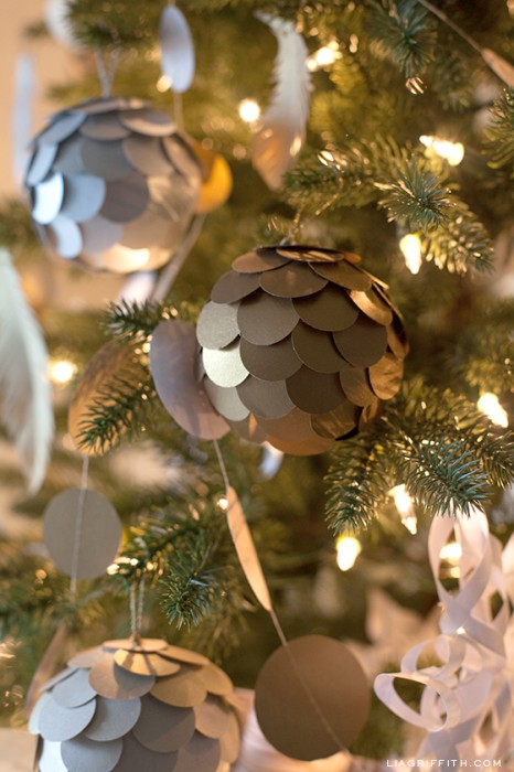 Lia Griffith - Paper Golden Pinecone Ornaments