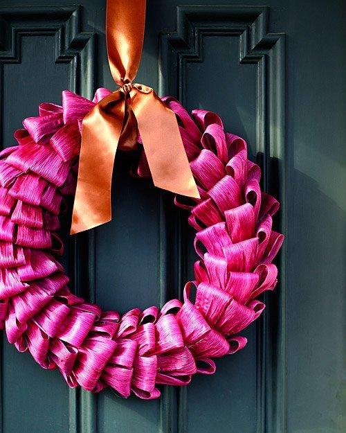 Martha Stewart Living via Apartment Therapy - Bright Corn Husk Wreath