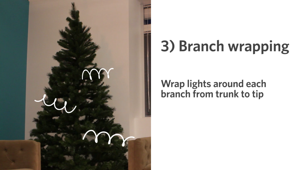 when you are done turn off the lights in the room and look for empty or dark spots gently move lights around to give it a more even look - How Many Lights For Christmas Tree