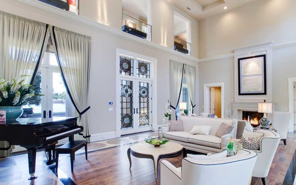 Continental Custom Homes High Ceiling Living Room. 19 Piano Rooms That  Bring Music To Your Home Porch Advice