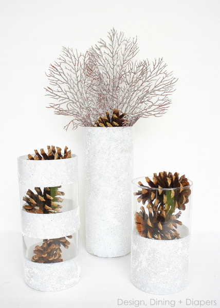 Design, Dining, and Diapers - Sparkly Pillar Vases