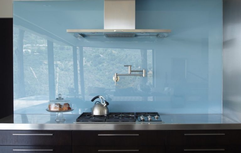 Griffin Enright Architects Blue Glass Backsplash 960x500