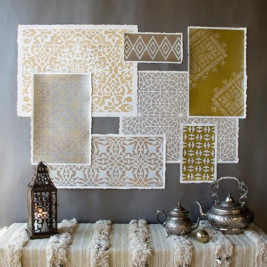 Hometalk - DIY Metallic Moroccan Screenprints