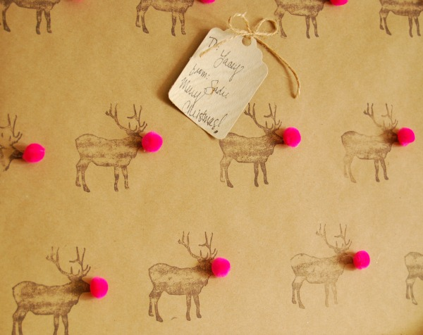 The Proper Pinwheel - reindeer pom pom wrap 1