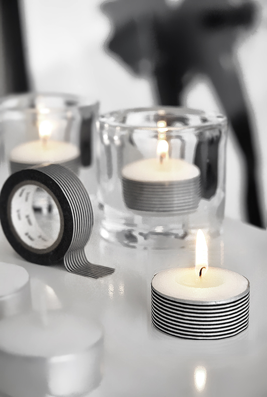 Trendenser - Black and White Washi Tape Candles