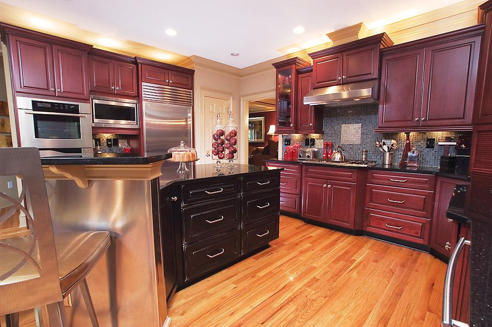 AK Complete Home Renovations Maroon Kitchen