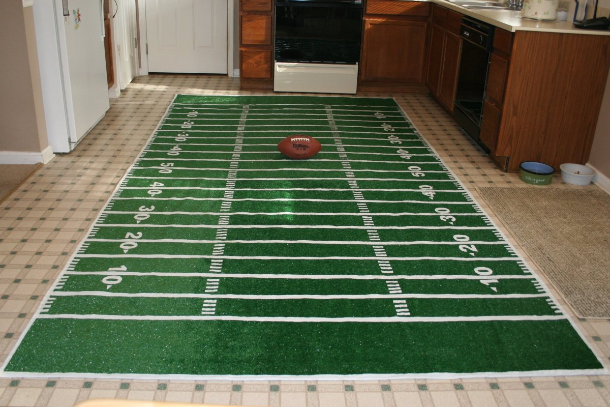 Chica and Joe - football field rug