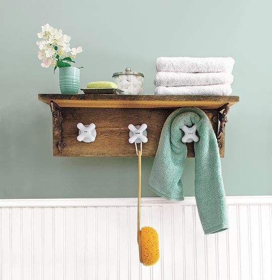 Salvage-Style Projects via Apartment Therapy - Faucet Towel Rack