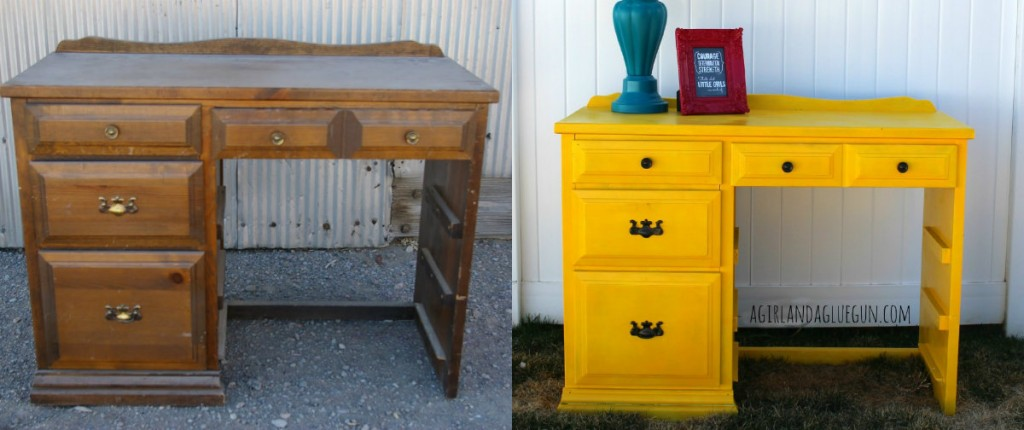 Yellow Painted Dresser Makeover A And Glue Gun