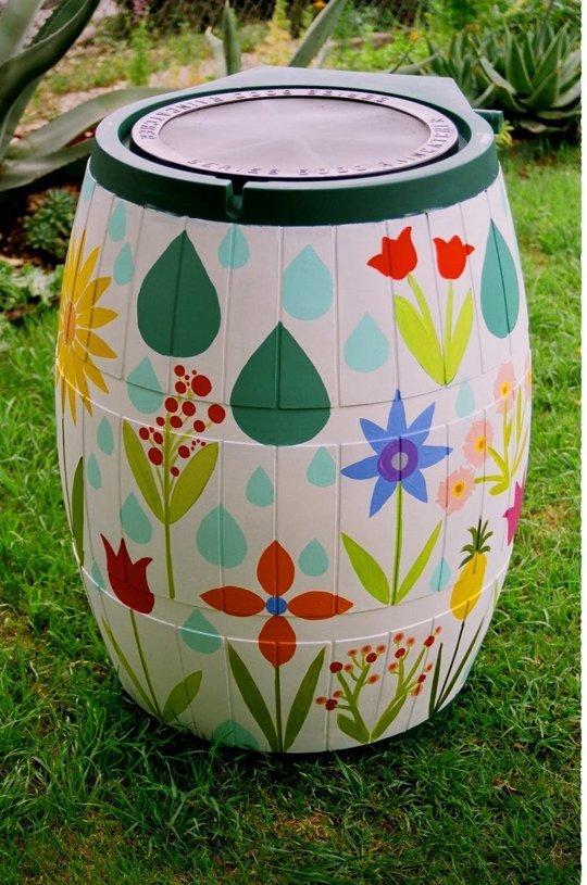 Annie's Omnium via Apartment Therapy - painted rain barrel