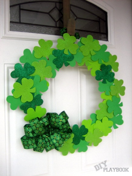DIY Playbook St. Patrick's Day green shamrock wreath