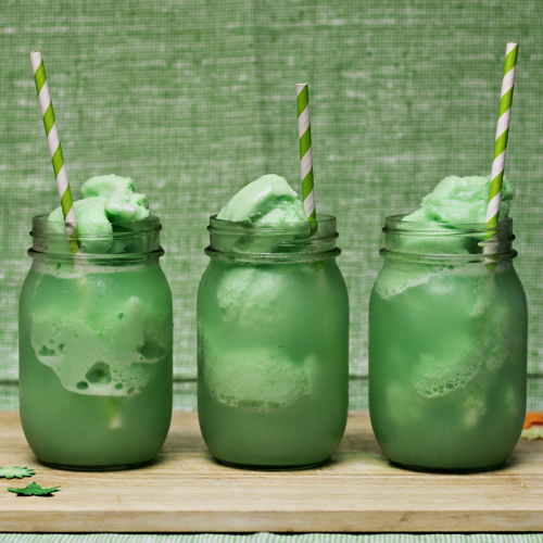 Home Cooking Memories St. Patrick's Day lime sherbet floats