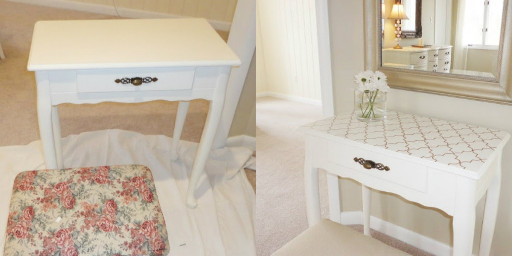 Live Love DIY stenciled furniture makeover vanity table