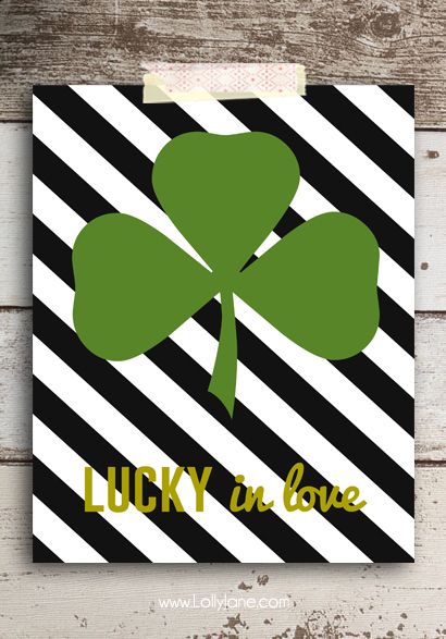 Lolly Jane lucky in love St. Patrick's Day printable with old wooden background