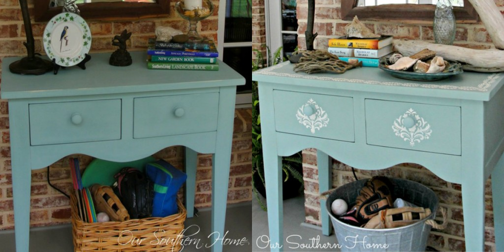 Our Southern Home beach inspired furniture makeover stencil