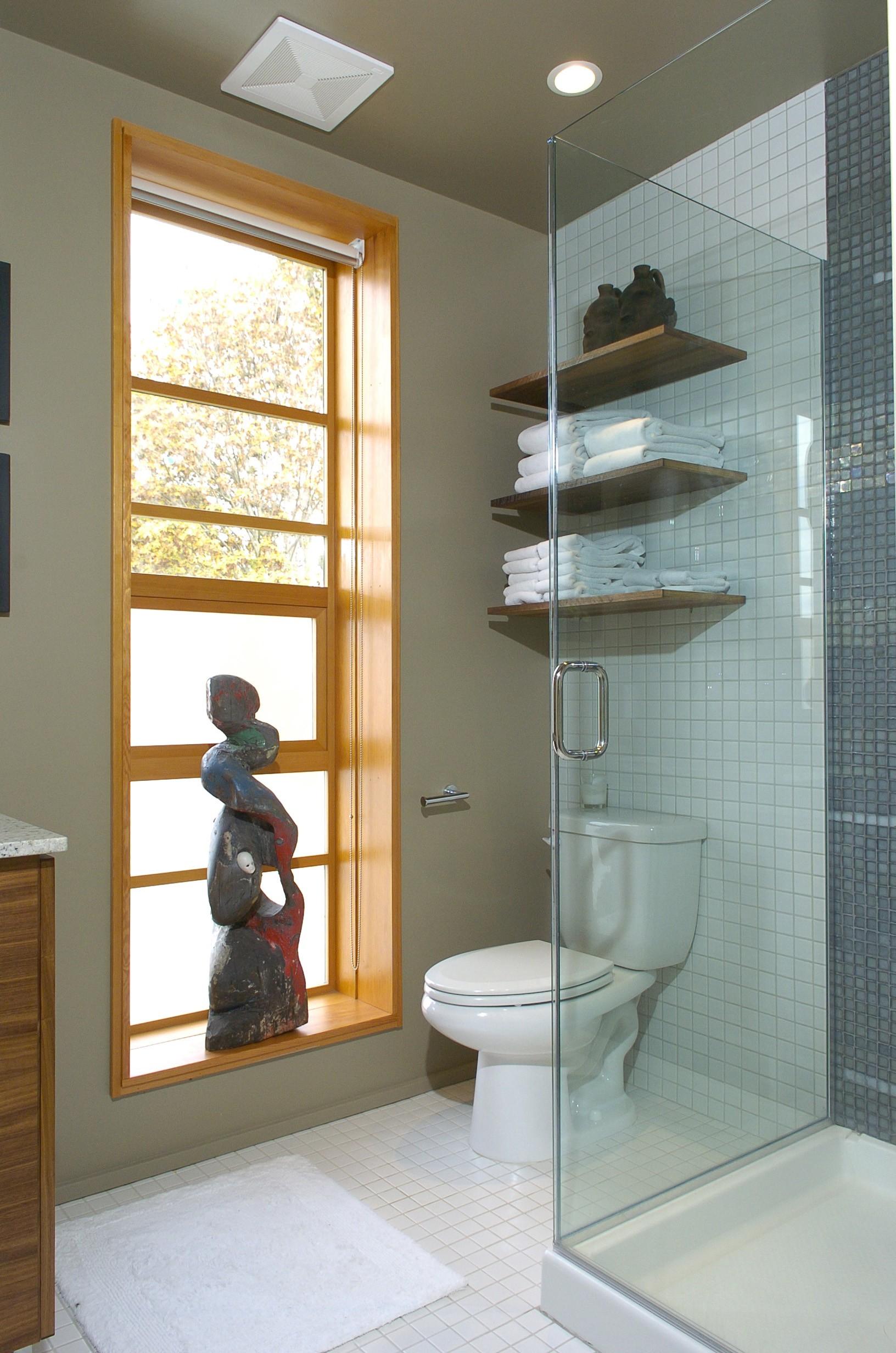 Open shelving in bathroom - Prentiss Architects Open Shelving