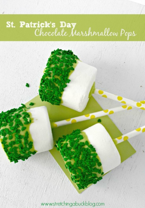 Stretching A Buck Blog St. Patrick's Day chocolate marshmallow pops