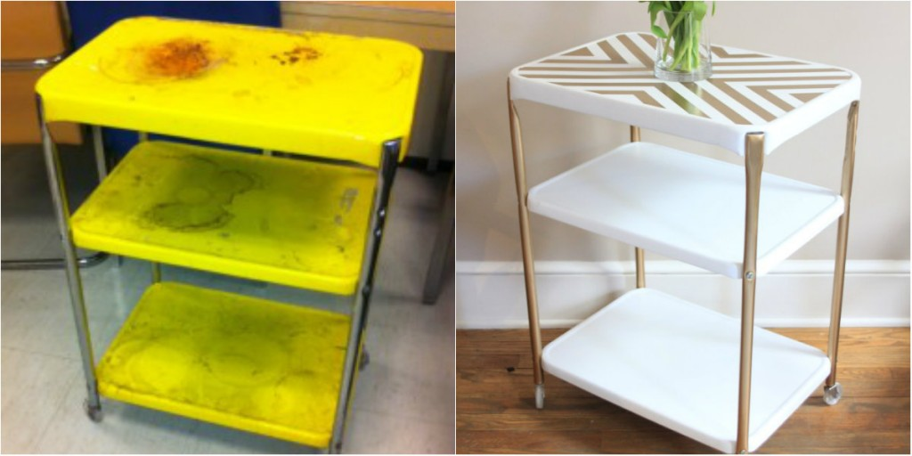 The Salvaged Boutique west elm inspired metal rolling cart gold metallic stencil makeover