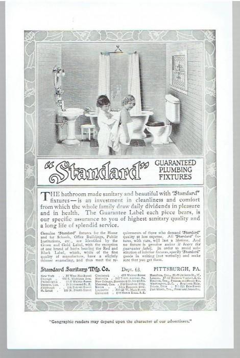 sanitary plumbing 1913 bathrooms