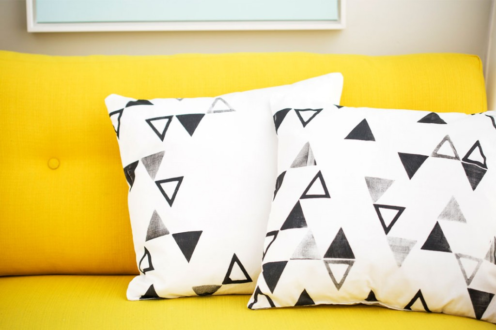 Brit + Co DIY triangle stamped pillows