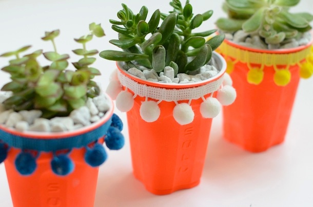 Camille Styles DIY solo cup succulent pot planters with pom pom trim