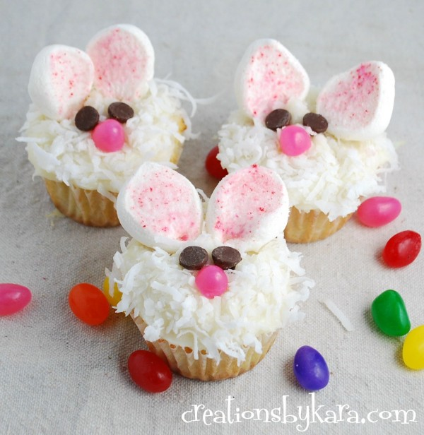 Creations by Kara easter coconut bunny cupcakes