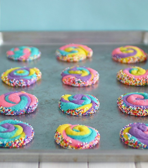 Deliciously Declassified Easter rainbow swirl cookies