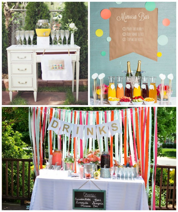Connie Whitlock via Wedding Chicks, Smarty Had A Party & Not So Newlywed McGees bridal shower drink station