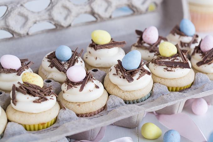 Garnish & Glaze white chocolate easter egg cupcakes