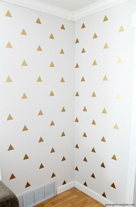 Girl Loves Glam gold geometric triangle decal wall art