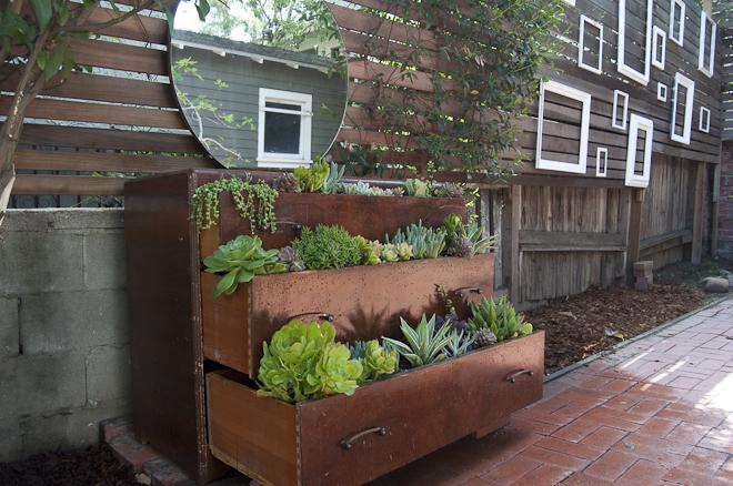 an upcycled dresser garden