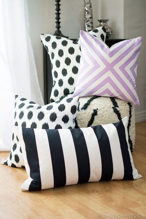 Homey Oh My DIY no sew pillow covers