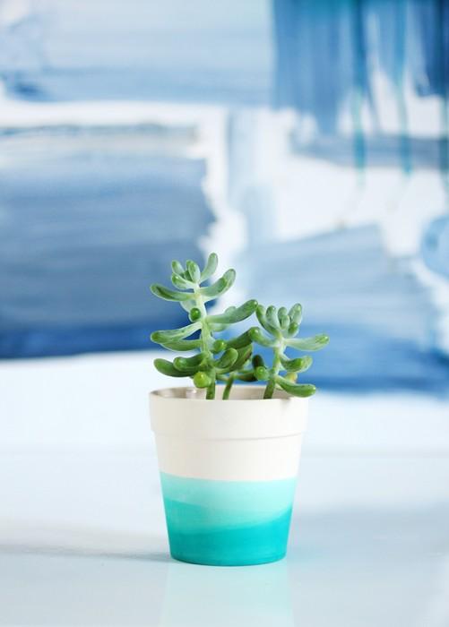 I Spy DIY blue ombre succulent pot planter DIY