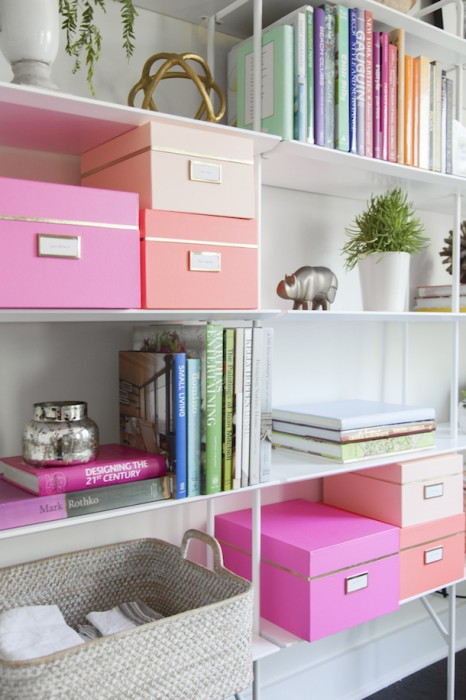 Jessica Pages via Camille Styles bookshelf storage boxes