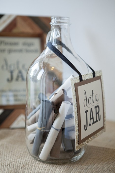 Something Turquoise bridal shower DIY date jar