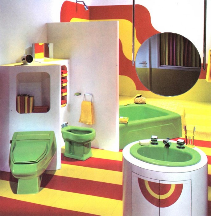 This bathroom from the 1970's shows how interior design allowed for personal style to influence the bathroom. Image found here.