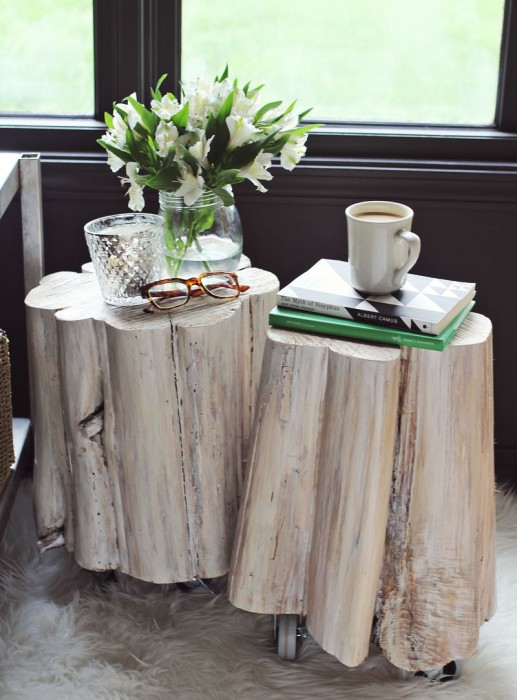 A Beautiful Mess DIY West Elm tree stump side tables
