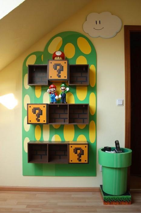 Busydoor.com via Buzzfeed Mario wall shelves