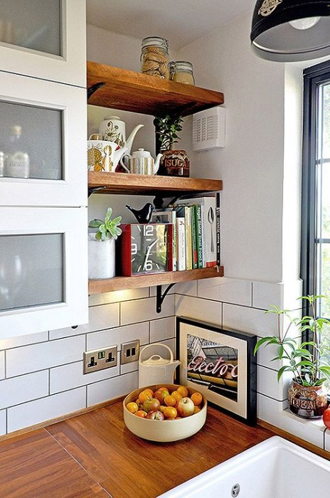 Design Sponge small kitchen hack wall shelves
