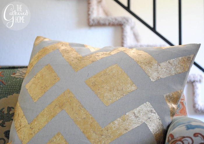 The Gathered Home DIY West Elm metallic pillow covers