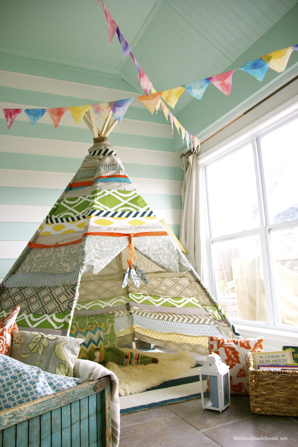 The Handmade Home - Porch - teepee & 15 DIY Teepees and Play Tents Your Kids Will Spend All Summer In ...