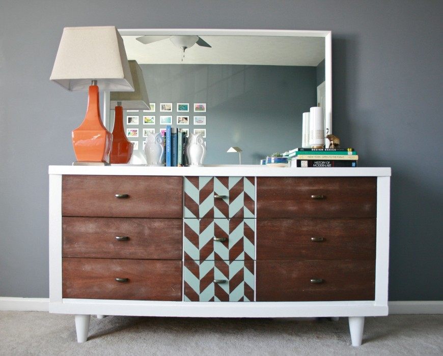 Dream Green DIY herringbone stenciled dresser