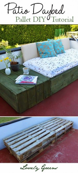 Lovely Greens DIY backyard pallet patio daybed