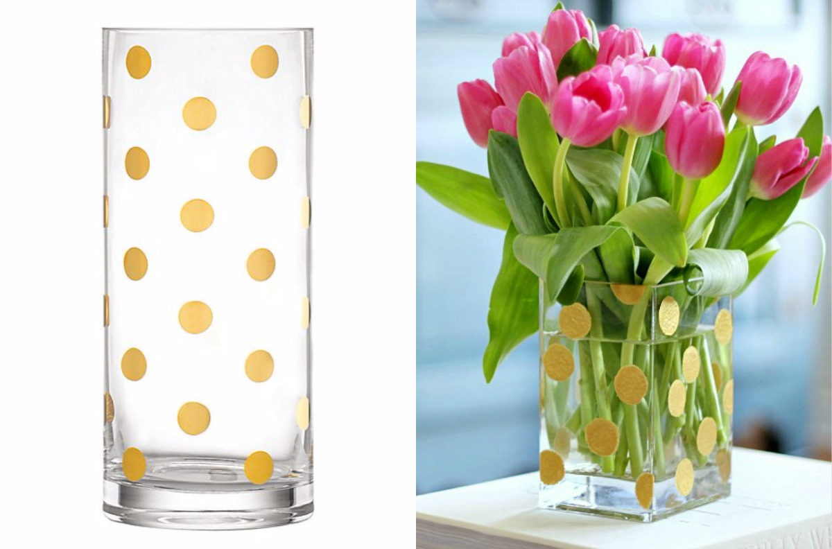 Kate Spade Pearl Place Vase/Hi Sugarplum DIY Gold Dot Vase