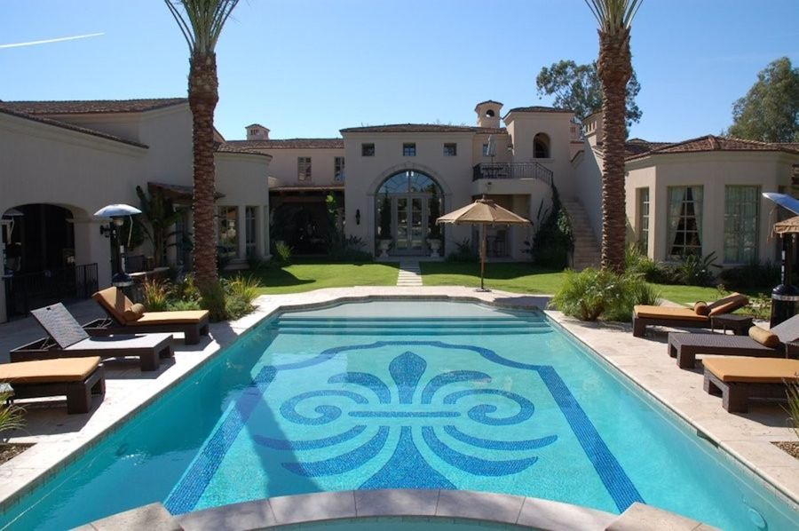 A Mosaic Tile Design Is A Traditional Way To Decorate The Swimming Pool.